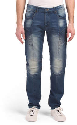 French Terry Denim Moto Jeans