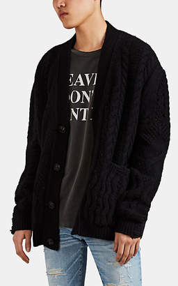 Amiri Men's Distressed Cable-Knit Cashmere-Wool Oversized Cardigan - Black