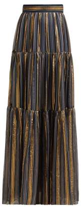 Peter Pilotto Striped Chiffon Maxi Skirt - Womens - Gold Multi