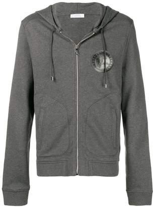 Versace logo print zip front hoodie