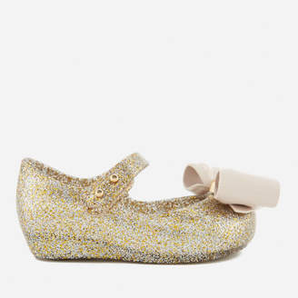 Mini Melissa Toddlers' Ultragirl Bow Glitter 18 Ballet Flats - Gold
