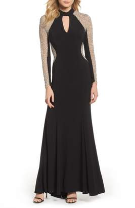 Xscape Evenings Beaded Choker Neck Gown