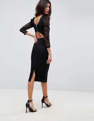 Asos DESIGN Lace Midi Dress With Puff Sleeve And Cut Out Back