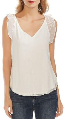 Vince Camuto Eyelet Ruffle-Trim Top