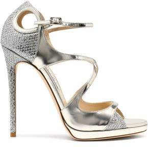 Jimmy Choo Fancie Cutout Glittered Mesh And Mirrored-Leather Sandals