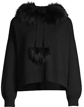 Alice + Olivia Women's Oscar Silver Fox Fur-Trim Hooded Sweater