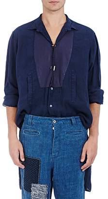 Loewe Men's Twisted-Placket Linen Tunic Shirt