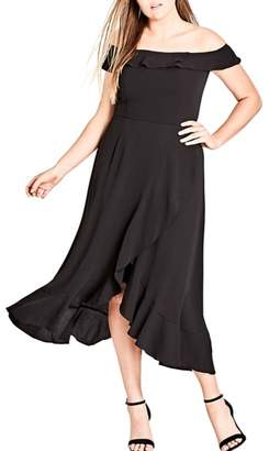 City Chic Off the Shoulder Ruffle High/Low Dress