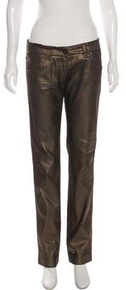 Dolce & Gabbana Low-Rise Metallic Jeans