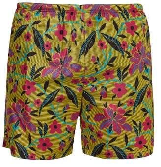 Prada Striped Floral Print Swim Shorts - Mens - Yellow Multi