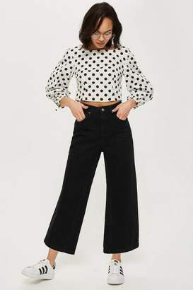 Petite cropped wide leg jeans