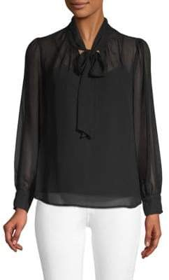 Long-Sleeve Bow Blouse