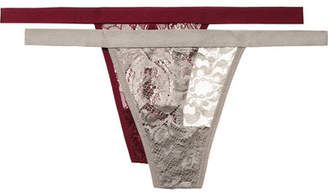 Anine Bing Isla Set Of Two Stretch-lace Thongs - Silver