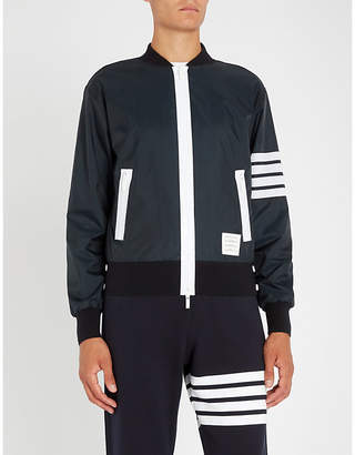 Thom Browne Four-bar shell bomber jacket