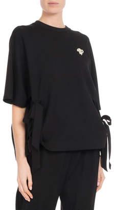 Simone Rocha Crewneck Short-Sleeve Side-Bows Top w/ Pearlescent Trim