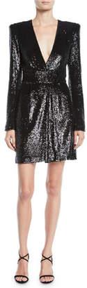 A.L.C. Mara Sequined Strong-Shoulder Short Dress