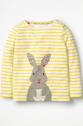 Next Girls Boden Yellow Stripy Animal Appliqué T-Shirt