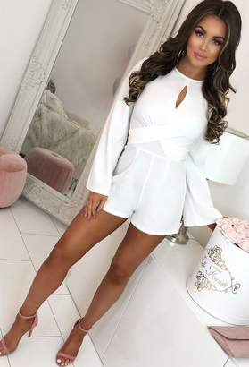 1846dd5e1a1 Pink Boutique Take It Slow Ivory Tie Twist Detail Long Sleeve Playsuit