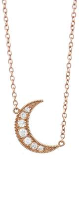 Andrea Fohrman White Diamond Crescent Moon Necklace - Rose Gold