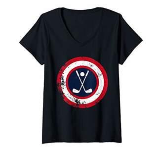 Womens Captain Golf Team Funny Golf Legend Comic Book V-Neck T-Shirt