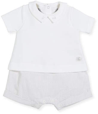 Petit Bateau Striped Romper w/ Attached Solid Collared Shirt, Size 1-12 Months