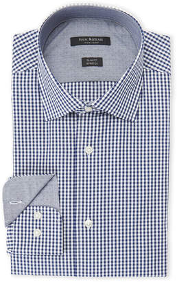 Isaac Mizrahi Navy & White Square-Print Slim Fit Stretch Dress Shirt