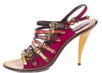 Louis Vuitton Ponyhair Buckle-Accented Sandals