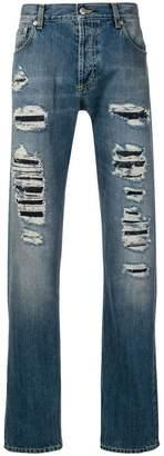 Alexander McQueen distressed straight-cut jeans