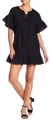 Lucky Brand Ruffle Trim Lace-Up Dress