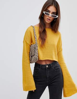Missguided crop flare sleeve sweater