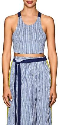 Flagpole Swim Women's Kate Striped Seersucker Crop Top - Navy