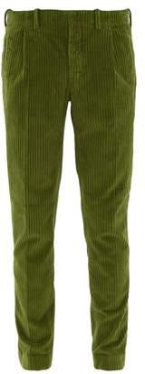 Incotex Tapered Leg Cotton Blend Corduroy Trousers - Mens - Green