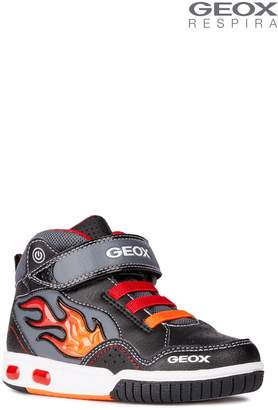 Next Boys Geox Gregg Black/Red Mid Cut Trainer With Lights