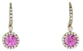 Mark Patterson 18K Diamond & Pink Sapphire Drop Earrings