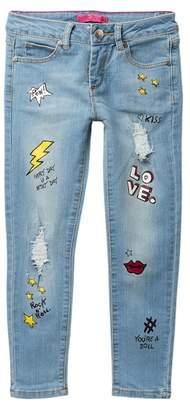 Betsey Johnson Rip & Repair Screen Print Skinny Jeans (Little Girls)