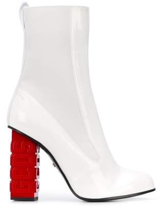 GCDS branded chunky heel boots