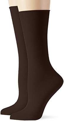 Elbeo Women's Roll-In Light Cotton DP Calf Socks Pack of 2, Brown-Braun (Kaffee 9625)