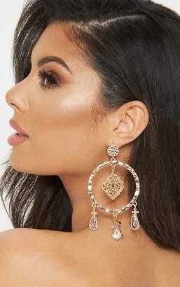 PrettyLittleThing Gold Hammered Filigree Charm Beaded Hoop Drop Earrings