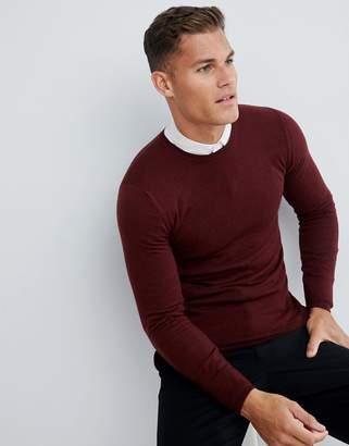 Asos DESIGN muscle fit merino wool sweater in burgundy