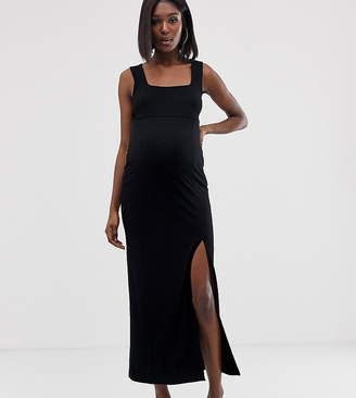 Asos DESIGN Maternity square neck mixed fabric maxi dress with split