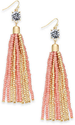 Thalia Sodi Gold-Tone Crystal & Bead Tassel Linear Drop Earrings, Created for Macy's