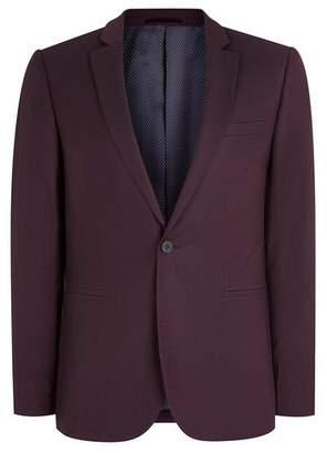 Topman Mens Red Plum Skinny Fit Suit Jacket
