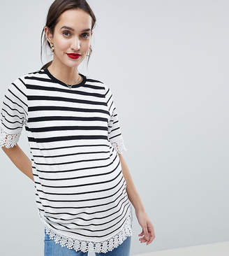 c5767abb1290c9 Asos Nursing DESIGN Maternity Nursing Double Layer T-Shirt In Stripe With  Crochet Trim