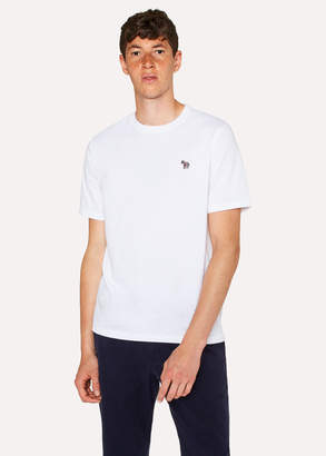 Paul Smith Men's White Organic-Cotton Zebra Logo T-Shirt