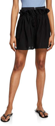Tibi Gauze Overlay Wool-Blend Drawstring Shorts