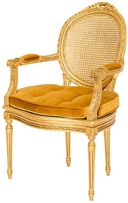 One Kings Lane Vintage Gilded Louis XVI Caned Fauteuil - Janney's Collection
