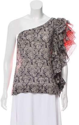 Rosie Assoulin Printed One-Shoulder Top w/ Tags