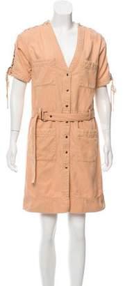 Chloé Lace-Up Detail Short Sleeve Dress