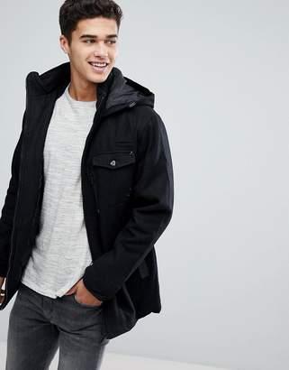 Brave Soul Wool Blend Hooded Jacket