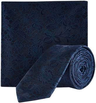 Burton Mens Teal Floral Tie and Pocket Square Set